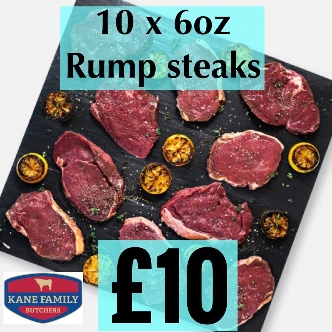 10 x 6oz Rump Steaks